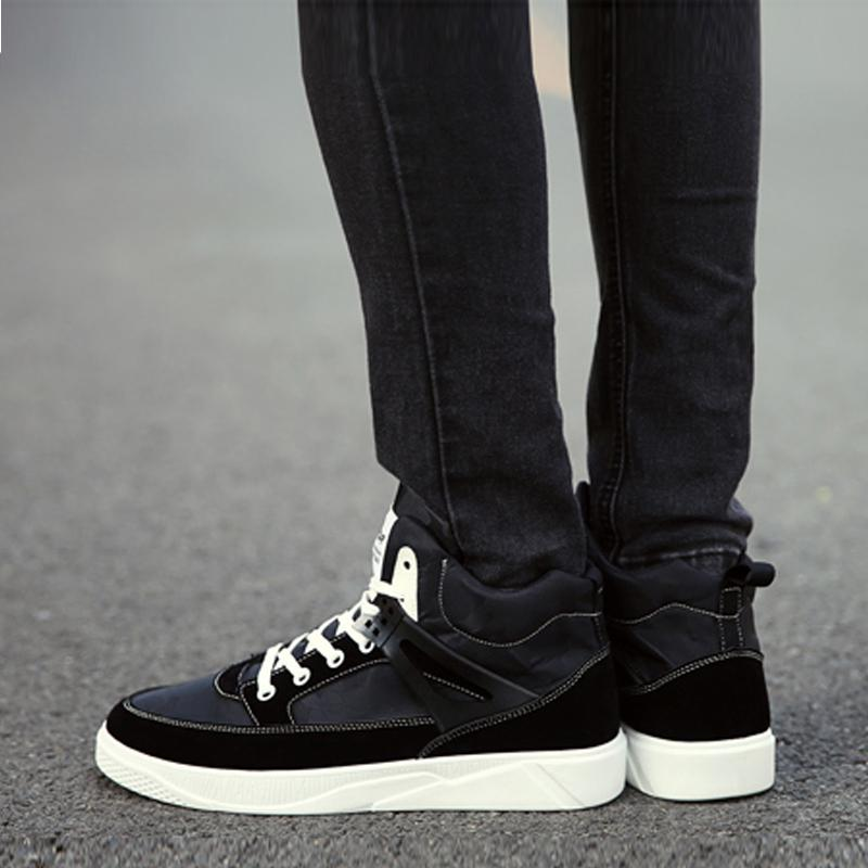 Canvas Lace Up High-Top Men's Boots