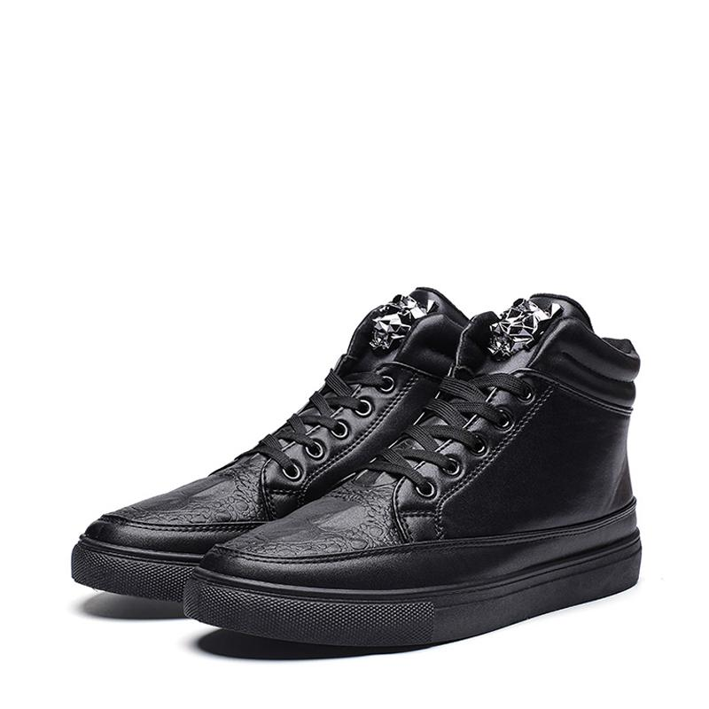 Leather Lace Up High-top Men's Boots