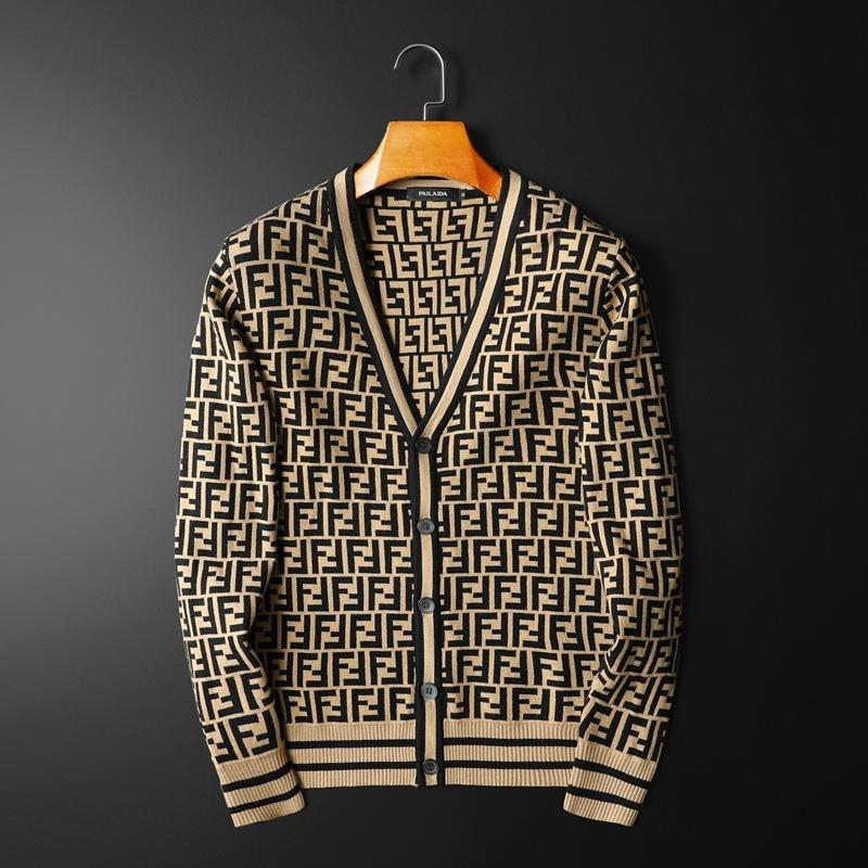 Casual V-neck Letter Printed Men's Cardigan Sweater