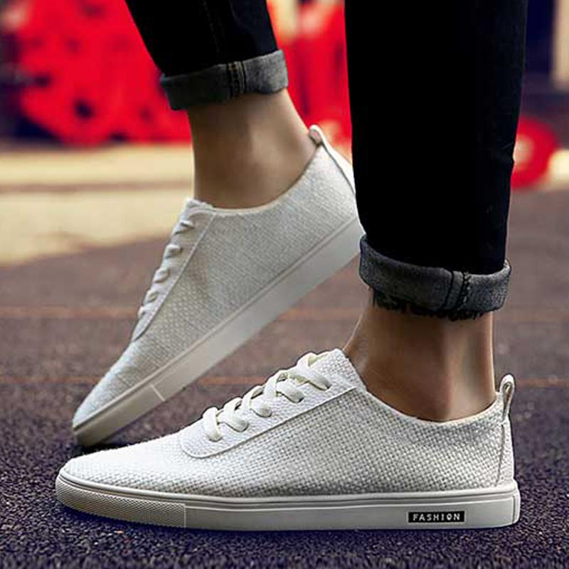 Linen Lace Up Breathable Men's Sneakers