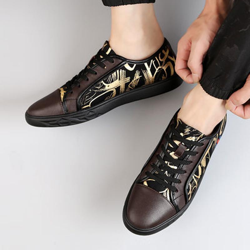 Cowhide Lace Up Men's Sneakers