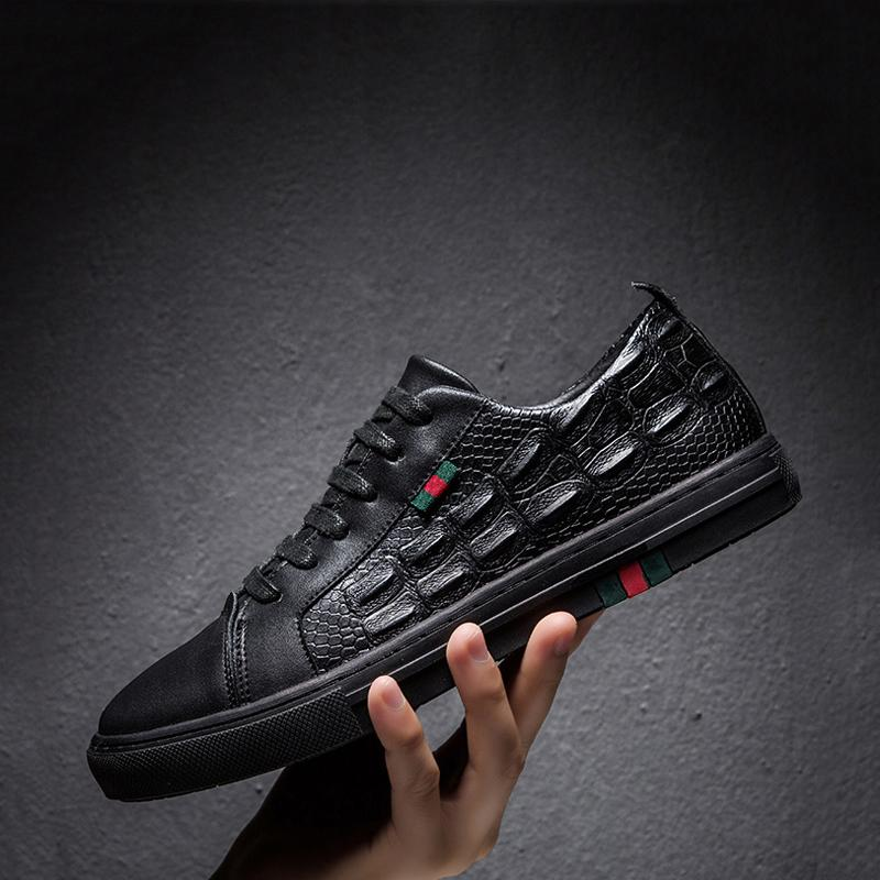 Black Cowhide Lace Up Men's Sneakers