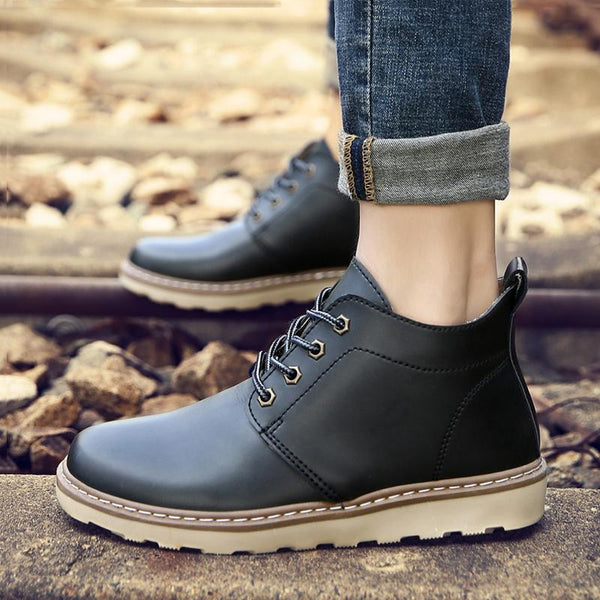 Leather Lace Up Coldproof Men's Boots