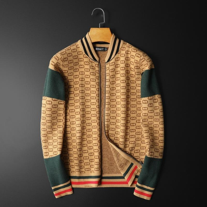 Matching Color Letter Printed Long Seleeve Casual Jacket With Zipper