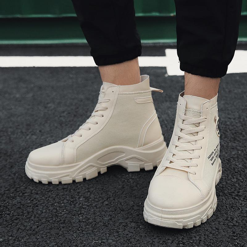 Knitted Fabric Lace Up Men's Boots
