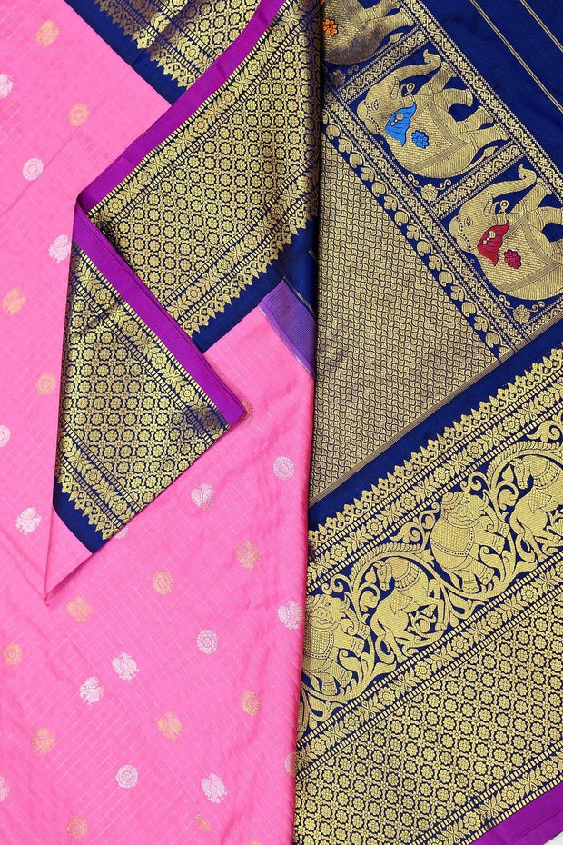 Kanchi pure silk pure zari saree in pink with fine zari checks, gold and silver buttas.