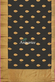 Handloom Banarasi silk cotton saree in black - Anivartee