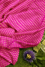Banarasi  silk fabric in pink. Available in multiples of 1M & 2.5M