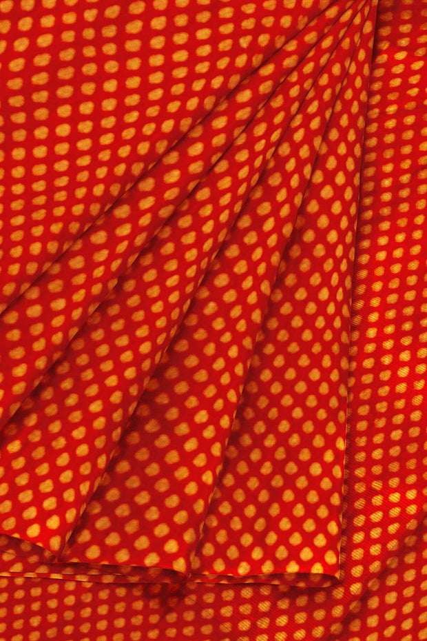 Banarasi  silk fabric in red. Available in multiples of 1M & 2.5M