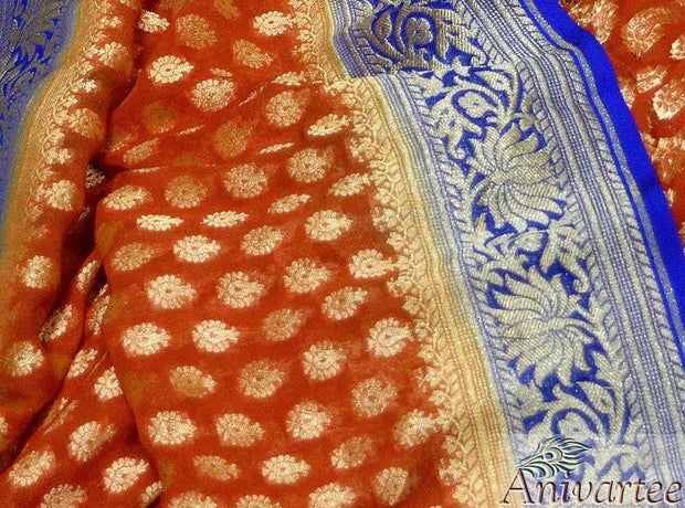 Handloom Banarasi silk georgette dupatta in  red