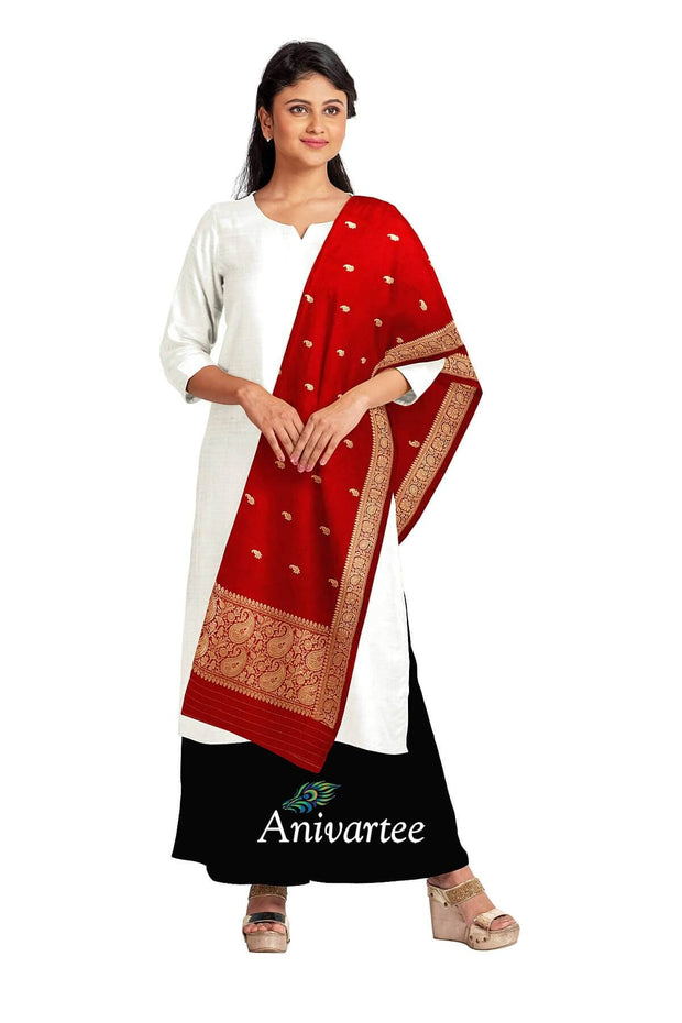 Banarasi katan pure silk dupatta in red with buttis and a rich zari border