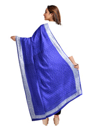 Handloom Banarasi chiffon dupatta in blue with silver zari border