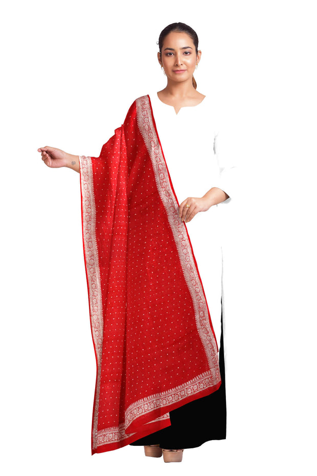 Handloom Banarasi chiffon dupatta in red with silver zari border
