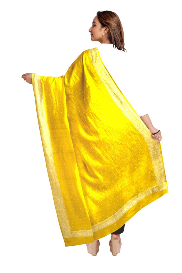 Handloom Banarasi chiffon dupatta in yellow with silver zari border