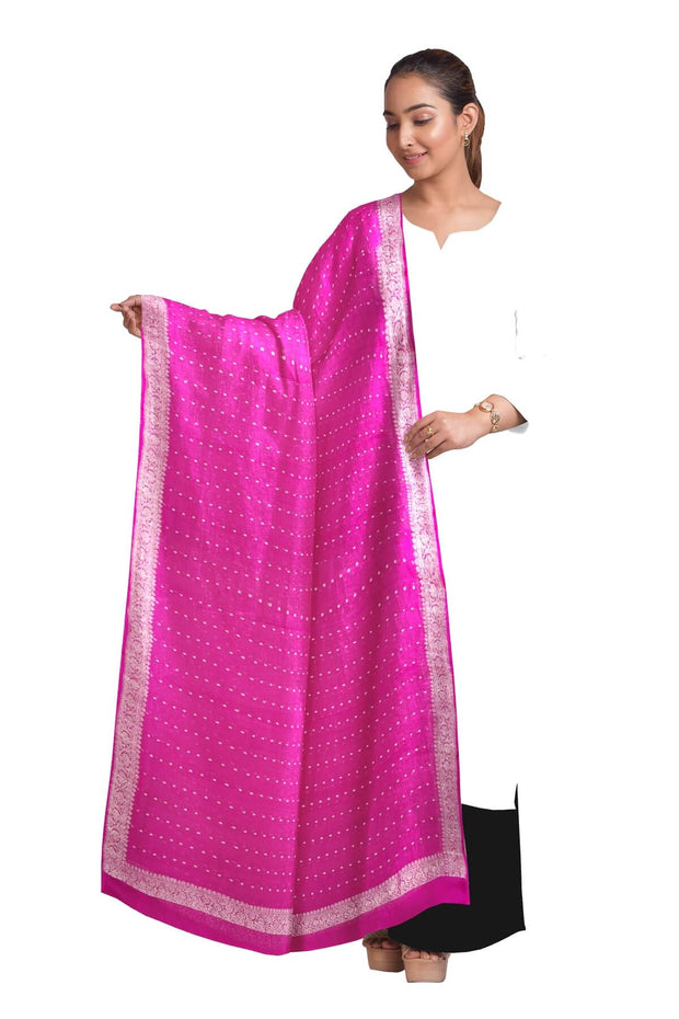 Handloom Banarasi chiffon dupatta in pink with silver zari border
