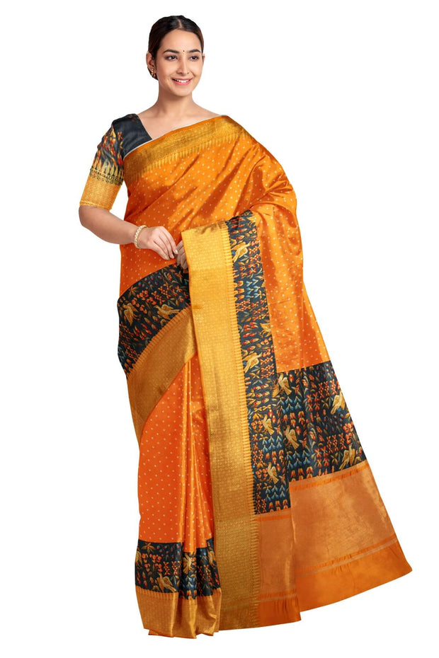 The attractive orange colour bhandhej with very beautiful  pallu and border on  woven katan silk with zari border