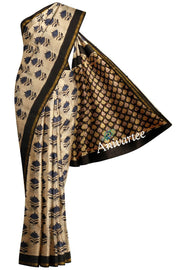 Handloom Chanderi silk cotton saree  in  beige with floral pattern - Anivartee