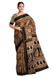 Handloom Chanderi silk cotton saree  in multicolour with floral print - Anivartee