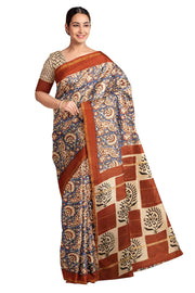 Handloom Chanderi silk cotton saree in blue with mango print - Anivartee