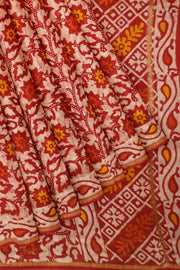 Handloom Chanderi silk cotton saree in red with floral print - Anivartee