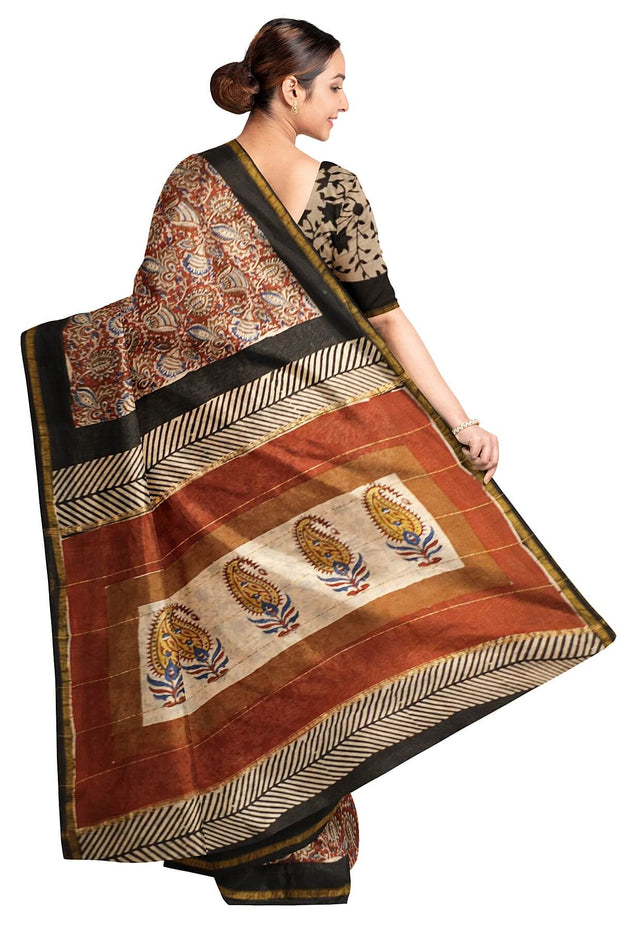 Handloom Chanderi silk cotton saree in maroon with floral print - Anivartee