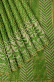 Handloom Chanderi silk cotton saree in green with floral print - Anivartee