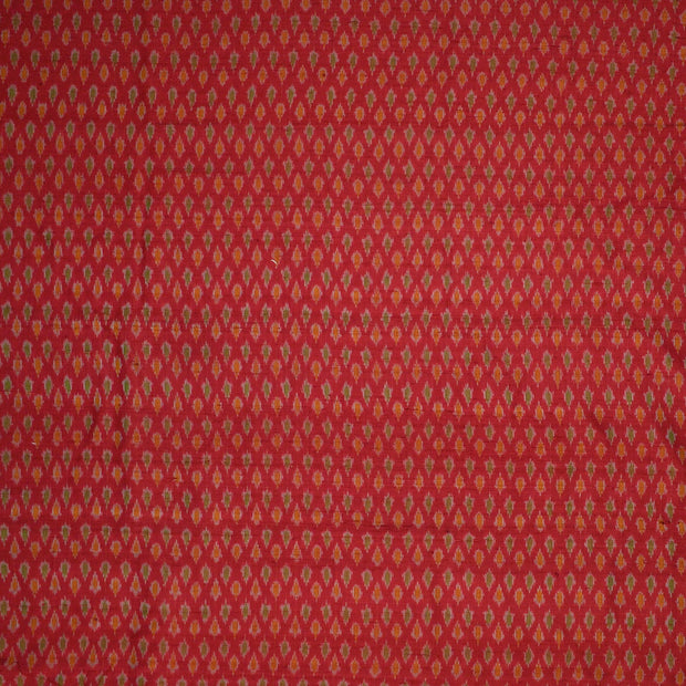 Handwoven Ikkat pure silk unstitched  fabric in dupioni finish in maroon