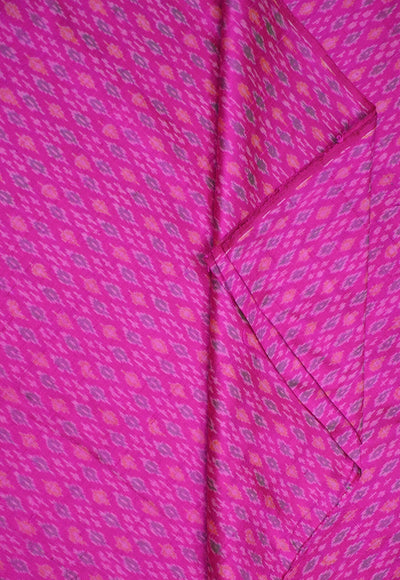 Handwoven Ikkat pure silk unstitched  fabric in dupioni finish in pink