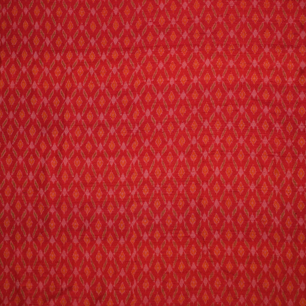 Handwoven Ikkat pure silk unstitched  fabric in dupioni finish in red