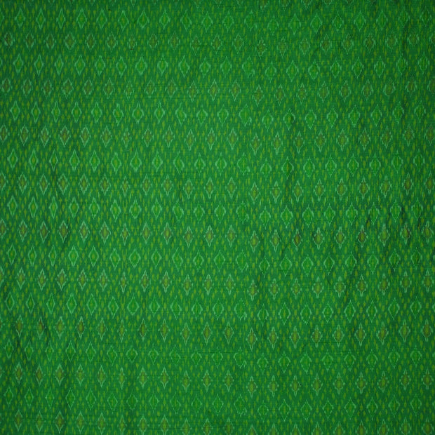 Handwoven Ikkat pure silk unstitched  fabric in dupioni finish in green