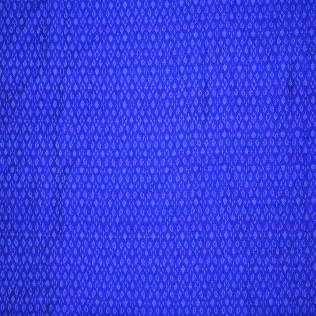 Handwoven Ikkat pure silk unstitched  fabric in dupioni finish in blue..