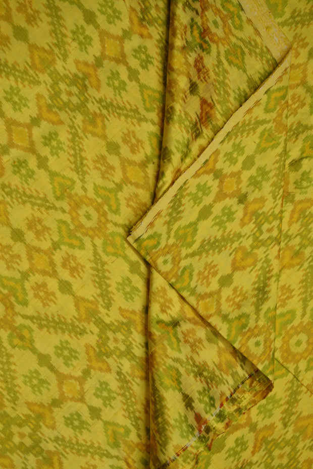 Handwoven Ikkat pure silk unstitched  fabric in dupioni finish in yellow