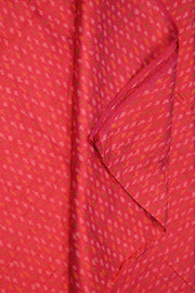 Handwoven Ikkat pure silk unstitched  fabric in dupioni finish in pinkish orange