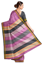 Handloom Eri pure silk saree in pink with striped pallu