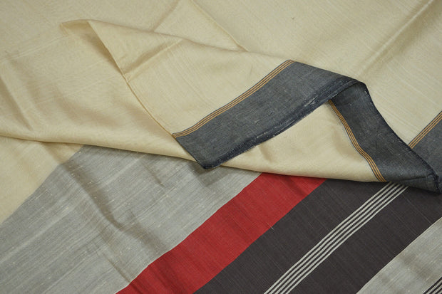Handloom  Eri pure silk saree in off white with striped pallu