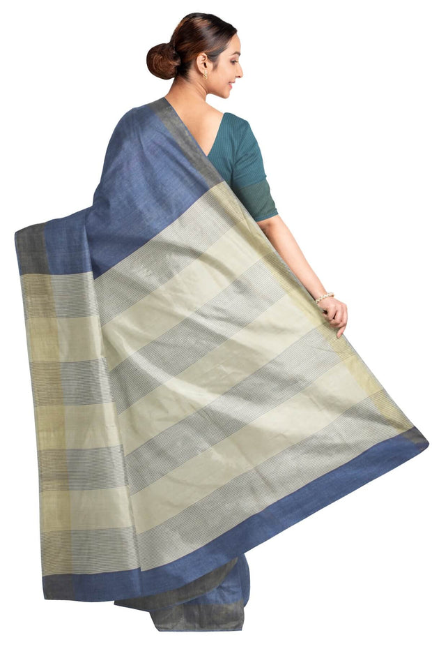 Handloom  Eri pure silk saree in blue with striped pallu