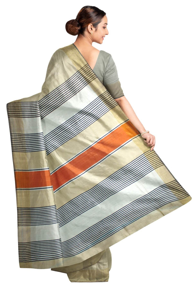 Handloom Eri pure silk saree in ivory white with striped pallu
