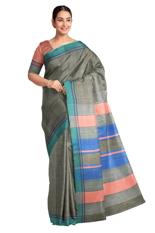 Handloom Eri pure silk saree in elephant grey with striped pallu