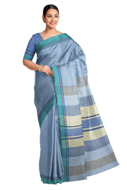 Handloom Eri pure silk saree in light blue with striped pallu