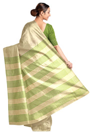 Handloom Eri pure silk saree in cream  with green striped pallu