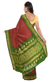 Handloom Gadwal silk cotton saree in maroon - Anivartee