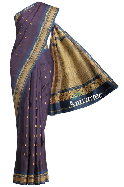 Handloom Gadwal  silk cotton saree in violet - Anivartee