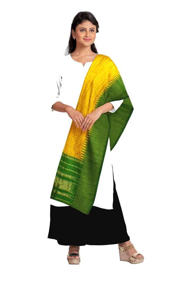 Handloom Gadwal pure silk dupatta in yellow with temple border