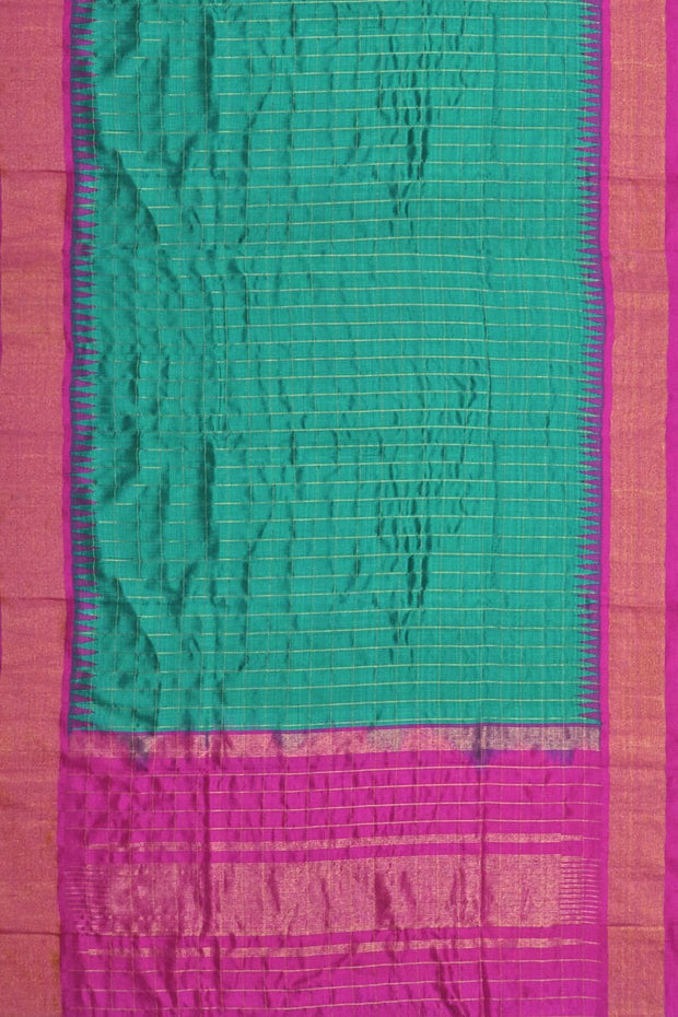 Handloom Gadwal pure silk dupatta in Teal blue with temple border