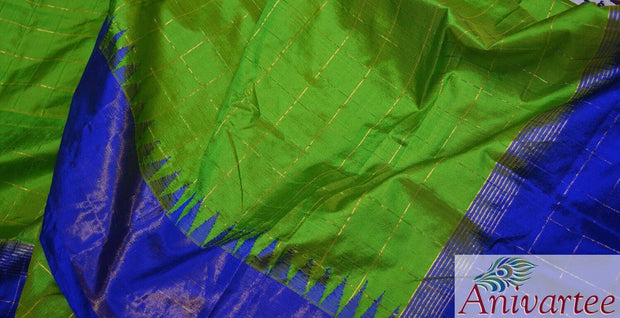 Handloom Gadwal pure silk dupatta in green with temple border