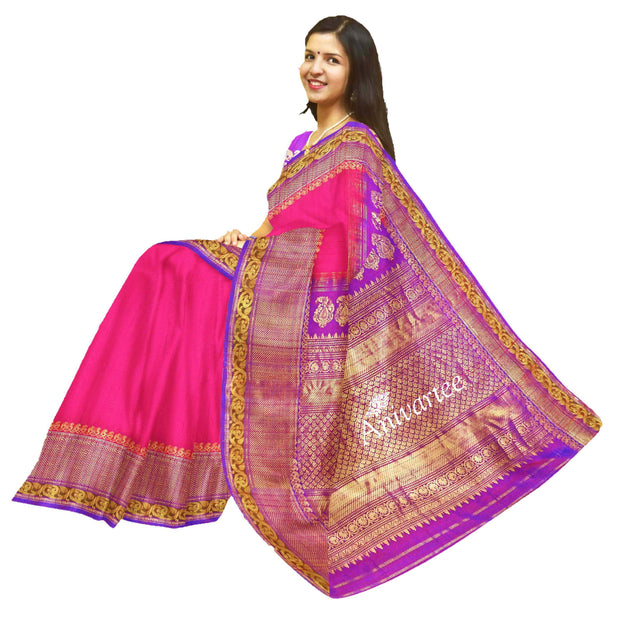Gorgeous Gadwal pure silk saree in jute finish - Anivartee