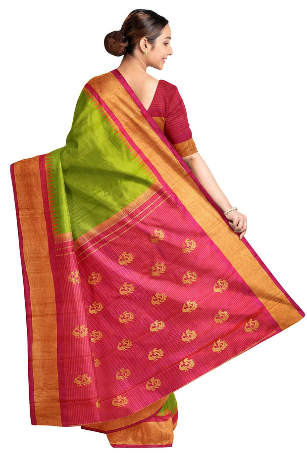 Handwoven Gadwal pure silk saree in stripes & check with peacock motifs in pallu and a temple border