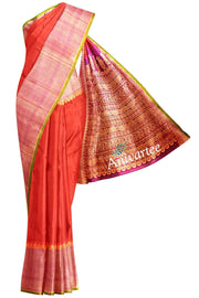 Handloom Gadwal silk saree in red in  dupion (jute) finish with rich pallu - Anivartee