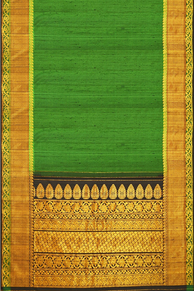 Handloom Gadwal silk saree in green in dupion ( jute) finish - Anivartee
