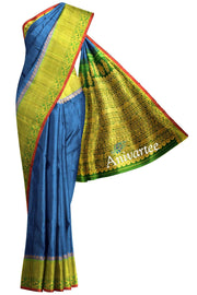 Handloom Gadwal silk saree in blue in dupion ( jute) finish - Anivartee